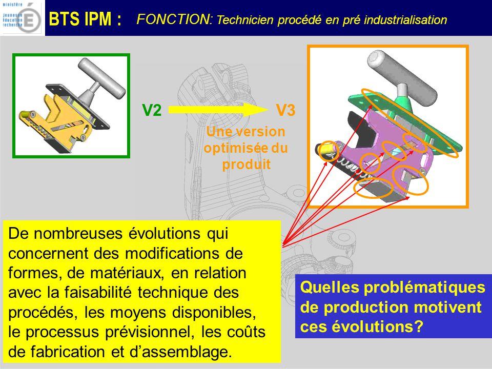 BTS IPM : Une version optimisée du produit V2V3 Quelles problématiques de production motivent ces évolutions.