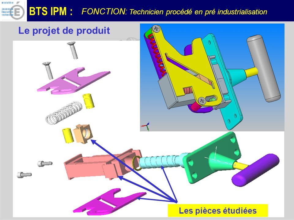 BTS IPM : FONCTION: Technicien procédé en pré industrialisation Le projet de produit Les pièces étudiées