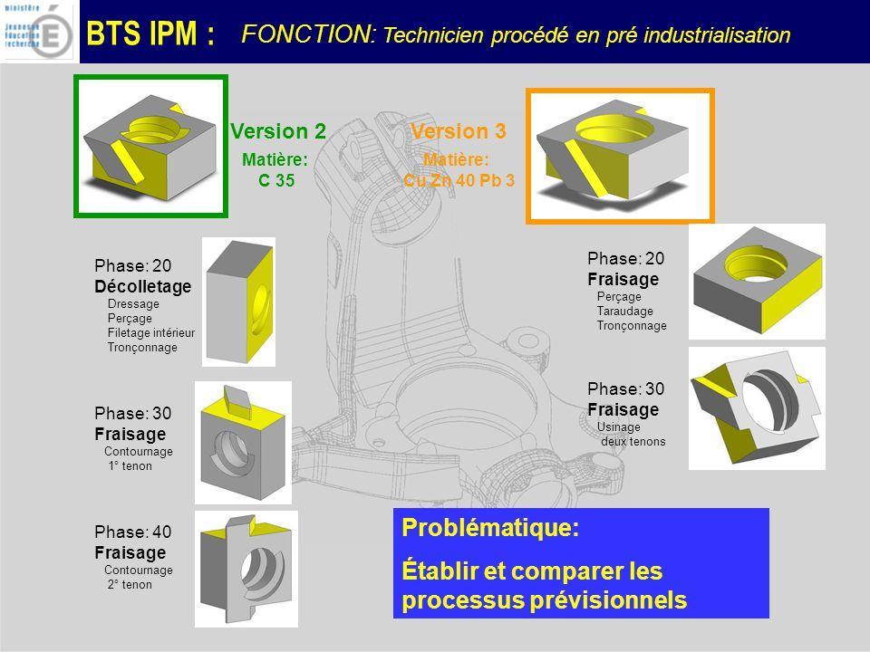 BTS IPM : Version 2Version 3 Phase: 20 Décolletage Dressage Perçage Filetage intérieur Tronçonnage Phase: 30 Fraisage Contournage 1° tenon Phase: 40 Fraisage Contournage 2° tenon Phase: 20 Fraisage Perçage Taraudage Tronçonnage Phase: 30 Fraisage Usinage deux tenons Matière: Cu Zn 40 Pb 3 Matière: C 35 Problématique: Établir et comparer les processus prévisionnels FONCTION: Technicien procédé en pré industrialisation