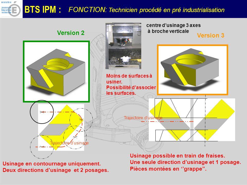 BTS IPM : Trajectoire dusinage Usinage en contournage uniquement.