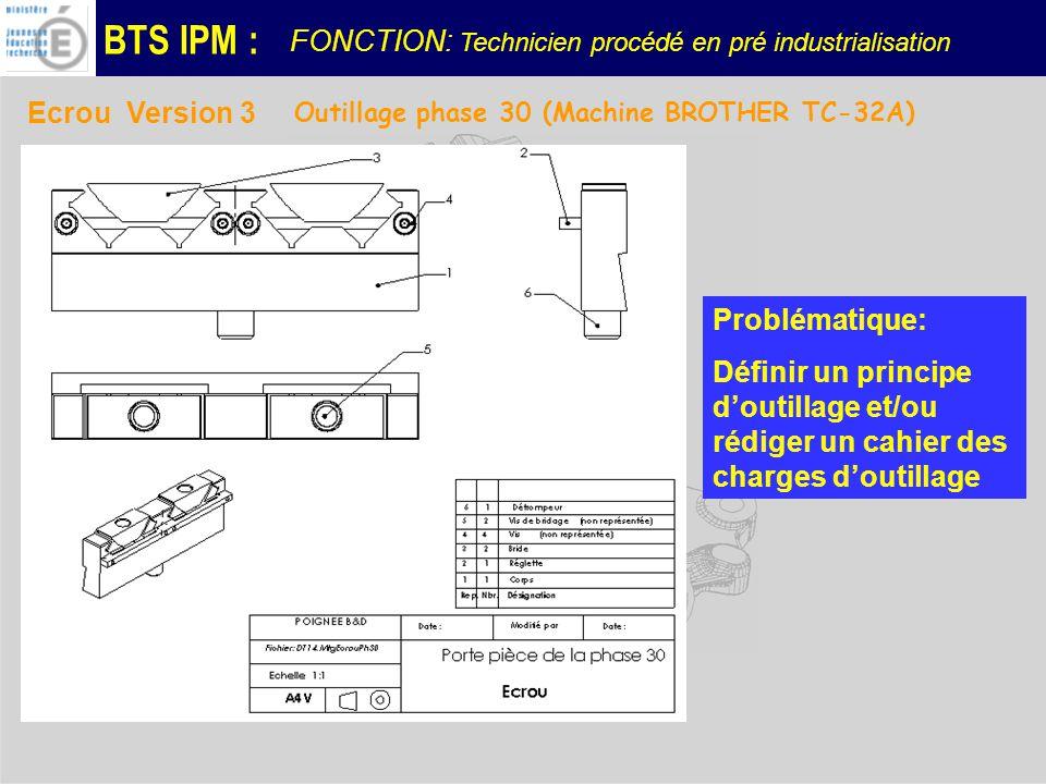 BTS IPM : Ecrou Version 3 Outillage phase 30 (Machine BROTHER TC-32A) Problématique: Définir un principe doutillage et/ou rédiger un cahier des charges doutillage FONCTION: Technicien procédé en pré industrialisation