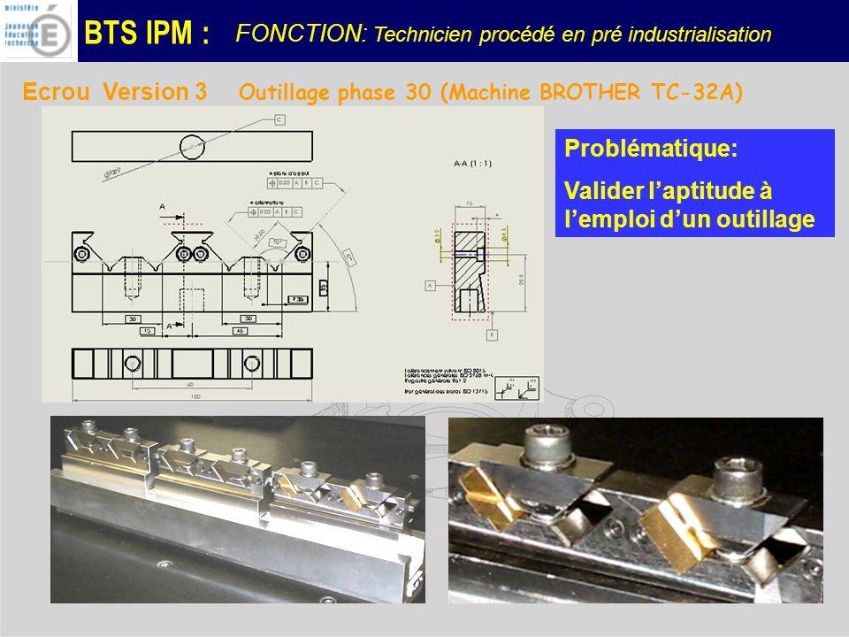 BTS IPM : Ecrou Version 3 Outillage phase 30 (Machine BROTHER TC-32A) Problématique: Valider laptitude à lemploi dun outillage FONCTION: Technicien procédé en pré industrialisation