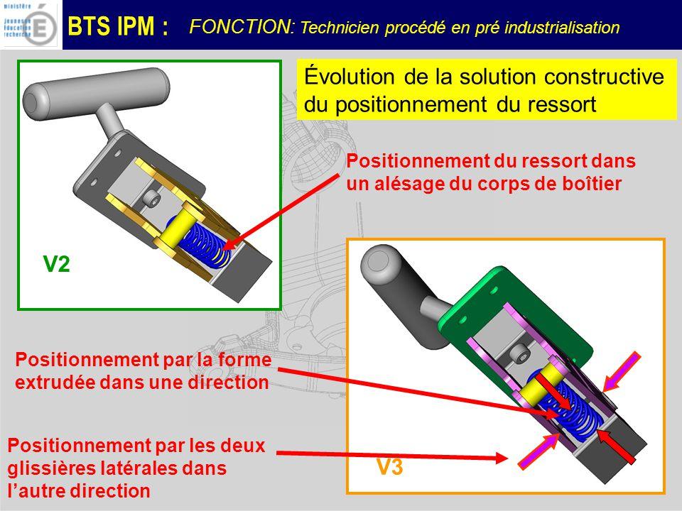 BTS IPM : FONCTION: Technicien procédé en pré industrialisation V2 V3 Positionnement du ressort dans un alésage du corps de boîtier Positionnement par la forme extrudée dans une direction Positionnement par les deux glissières latérales dans lautre direction Évolution de la solution constructive du positionnement du ressort