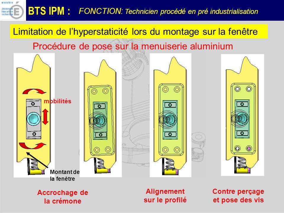 BTS IPM : FONCTION: Technicien procédé en pré industrialisation Limitation de lhyperstaticité lors du montage sur la fenêtre Procédure de pose sur la menuiserie aluminium mobilités Montant de la fenêtre Accrochage de la crémone Alignement sur le profilé Contre perçage et pose des vis