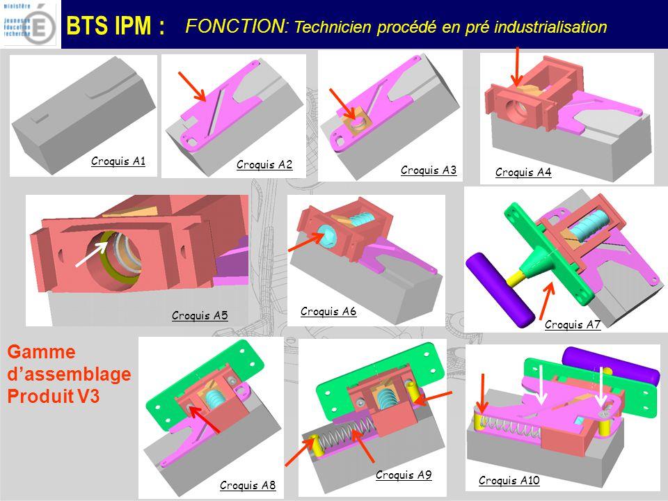 BTS IPM : Croquis A1 Croquis A8 Croquis A9 Croquis A5 Croquis A10 Gamme dassemblage Produit V3 Croquis A7 Croquis A4 Croquis A6 Croquis A3 Croquis A2 FONCTION: Technicien procédé en pré industrialisation