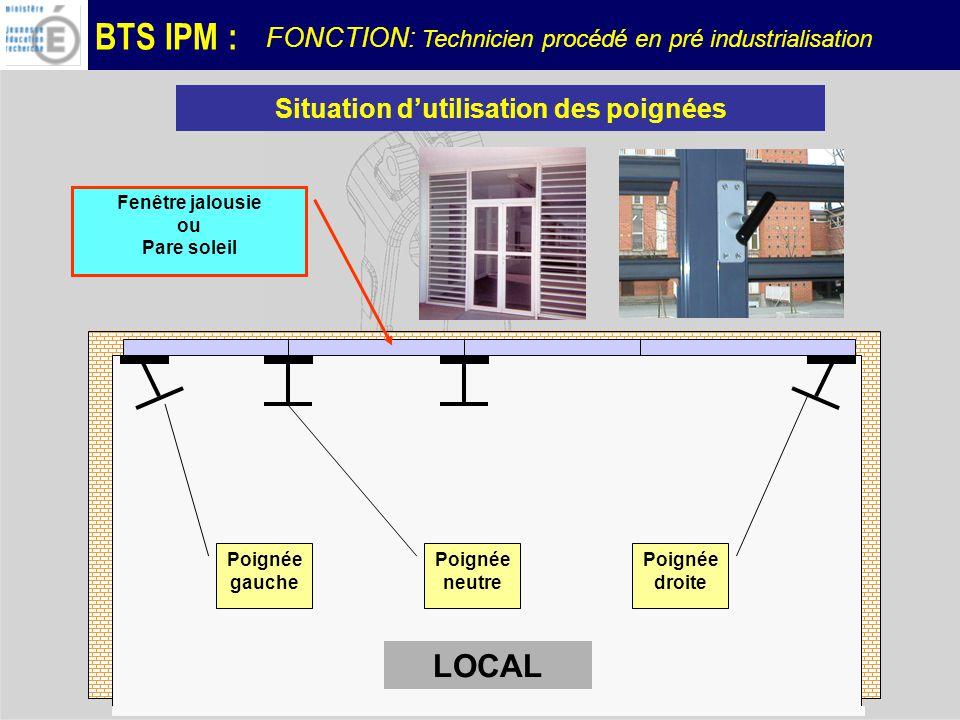 BTS IPM : CONTRAINTE DENCOMBREMENT La poignée doit sintégrer dans un profilé FONCTION: Technicien procédé en pré industrialisation