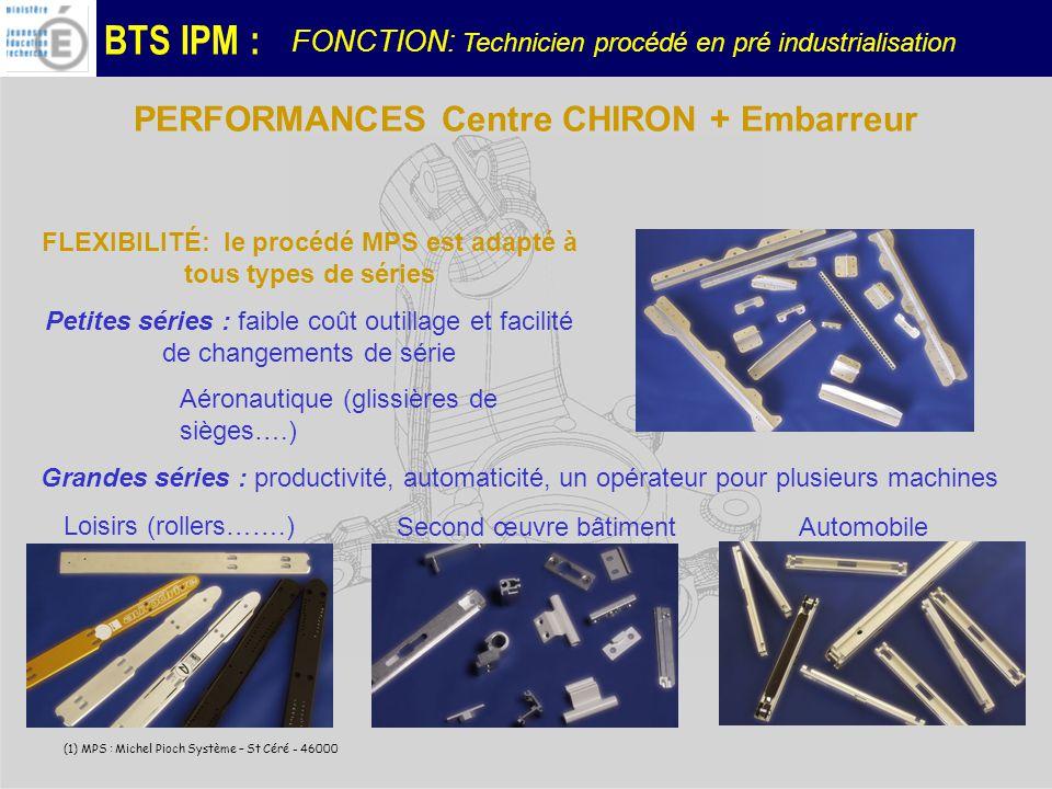 BTS IPM : (1) MPS : Michel Pioch Système – St Céré - 46000 FLEXIBILITÉ: le procédé MPS est adapté à tous types de séries Petites séries : faible coût outillage et facilité de changements de série Aéronautique (glissières de sièges….) Grandes séries : productivité, automaticité, un opérateur pour plusieurs machines Loisirs (rollers…….) Second œuvre bâtimentAutomobile PERFORMANCES Centre CHIRON + Embarreur FONCTION: Technicien procédé en pré industrialisation