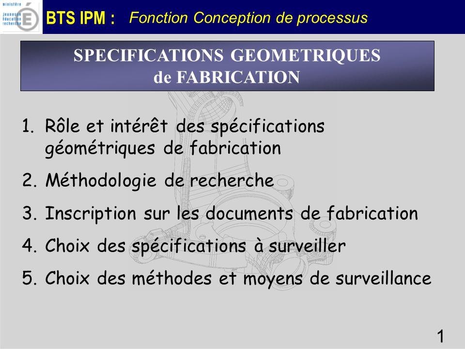 BTS IPM : Fonction Conception de processus 1 SPECIFICATIONS GEOMETRIQUES de FABRICATION 1.Rôle et intérêt des spécifications géométriques de fabricati