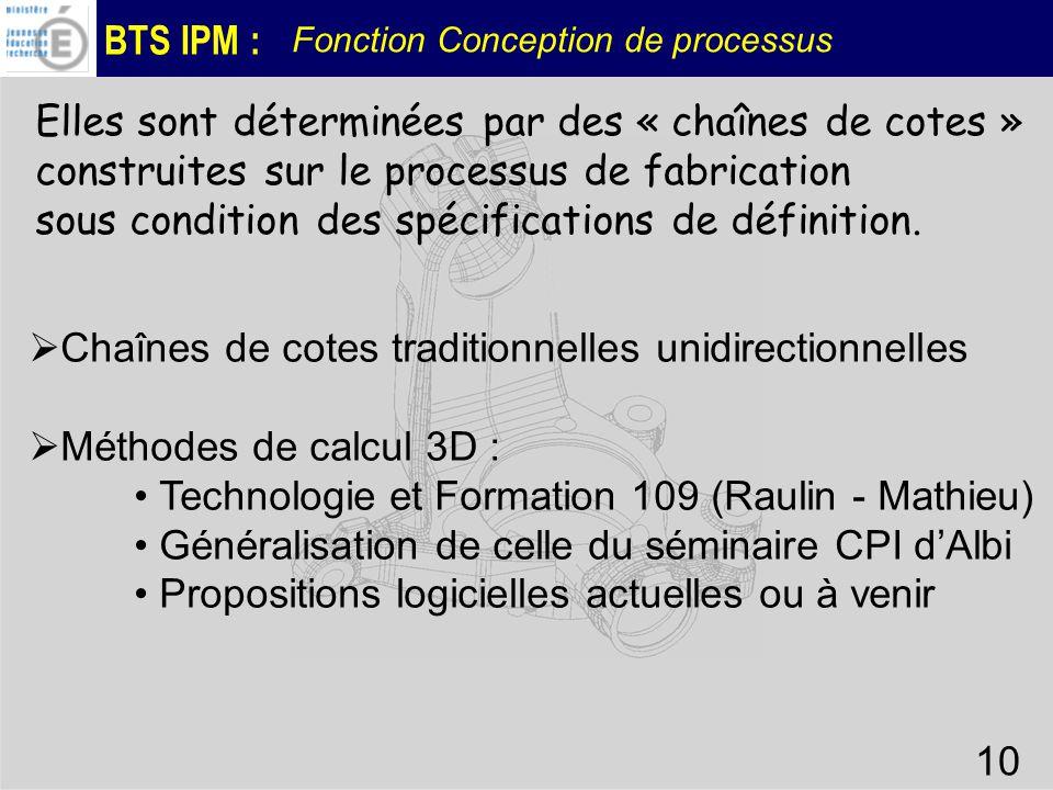 BTS IPM : Fonction Conception de processus 10 Elles sont déterminées par des « chaînes de cotes » construites sur le processus de fabrication sous con