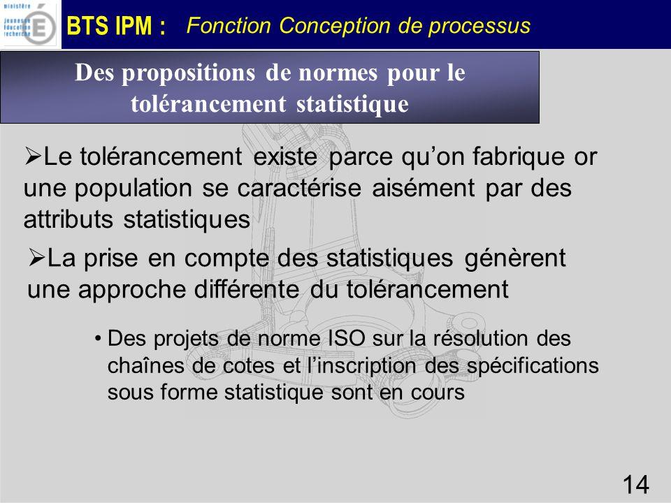 BTS IPM : Fonction Conception de processus 14 Des propositions de normes pour le tolérancement statistique Le tolérancement existe parce quon fabrique