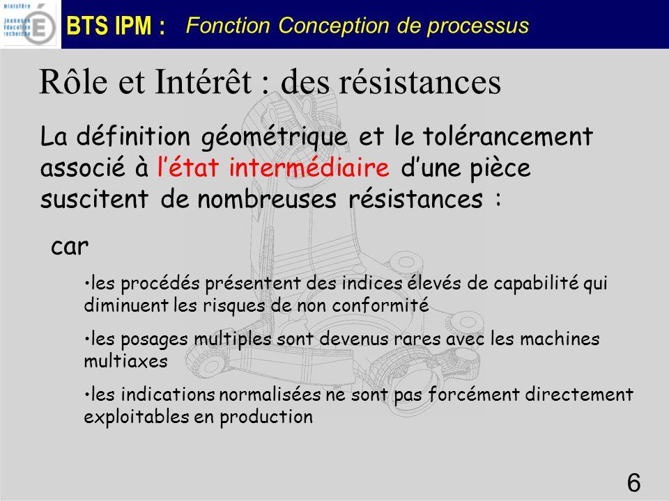 BTS IPM : Fonction Conception de processus 6 La définition géométrique et le tolérancement associé à létat intermédiaire dune pièce suscitent de nombr