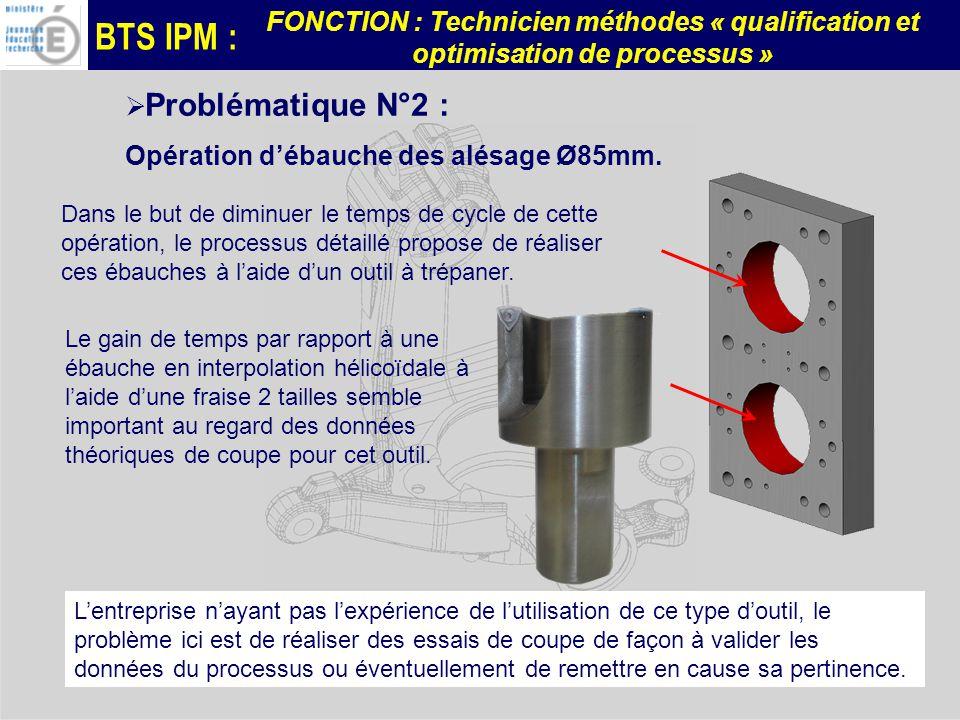 BTS IPM : FONCTION : Technicien méthodes « qualification et optimisation de processus » Problématique N°2 : Opération débauche des alésage Ø85mm.