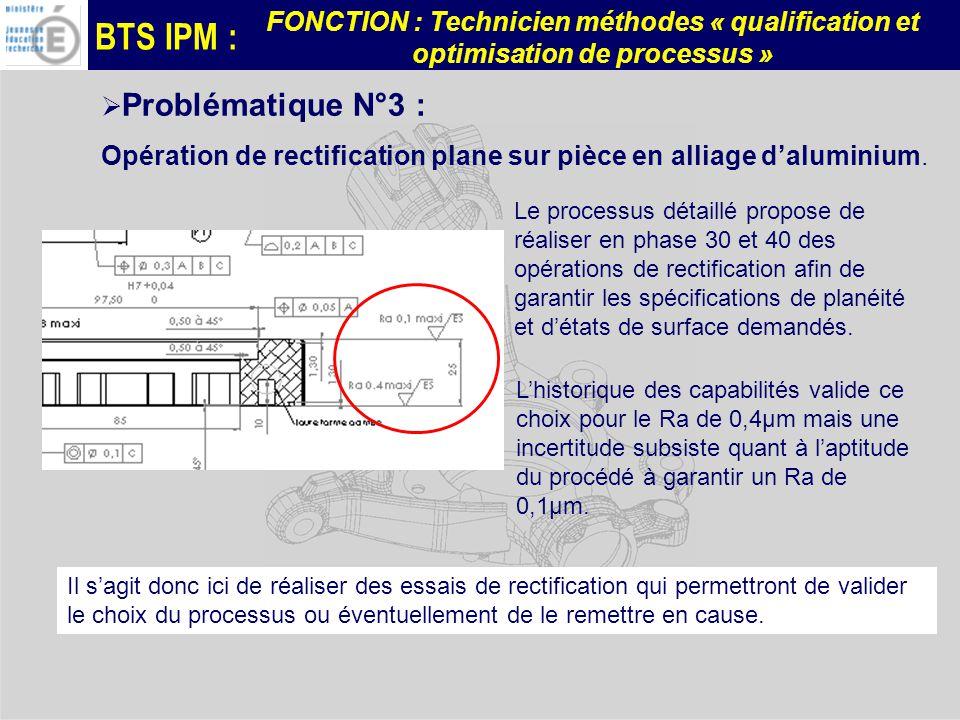 BTS IPM : FONCTION : Technicien méthodes « qualification et optimisation de processus » Problématique N°3 : Opération de rectification plane sur pièce en alliage daluminium.
