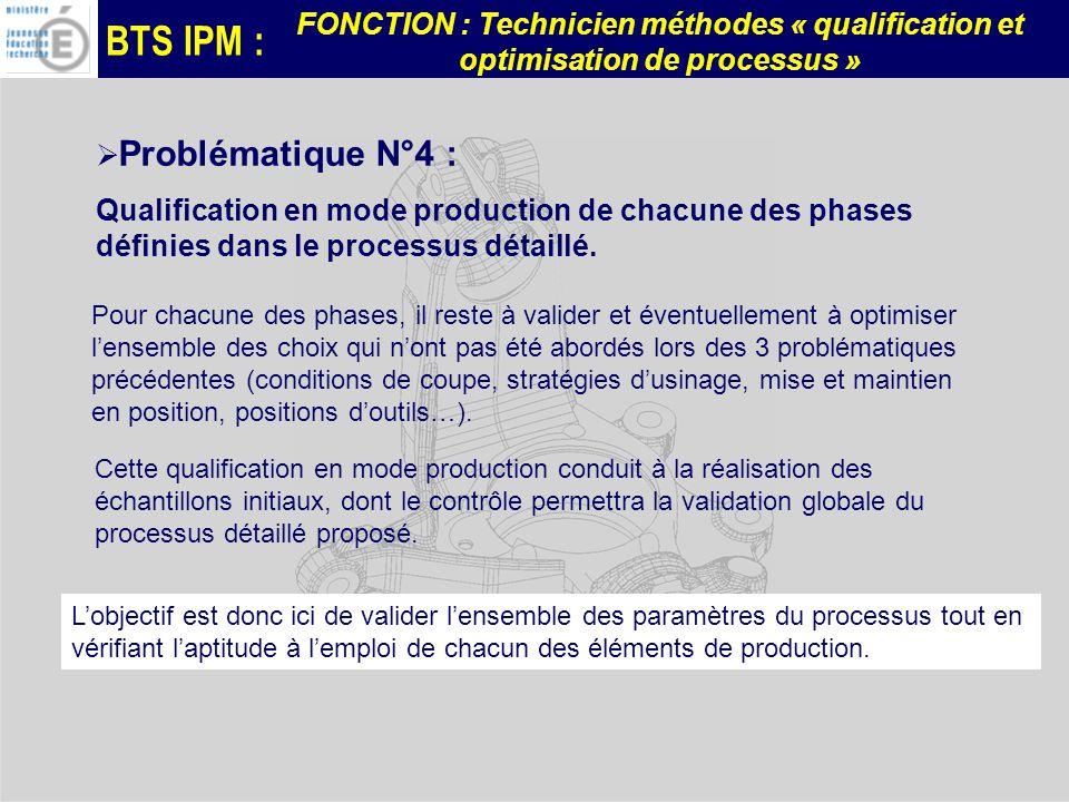 BTS IPM : FONCTION : Technicien méthodes « qualification et optimisation de processus » Problématique N°4 : Qualification en mode production de chacune des phases définies dans le processus détaillé.