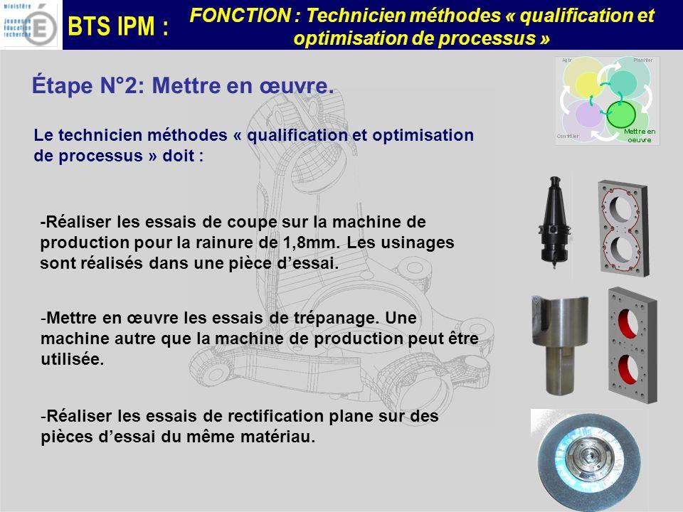 BTS IPM : FONCTION : Technicien méthodes « qualification et optimisation de processus » Étape N°2: Mettre en œuvre.