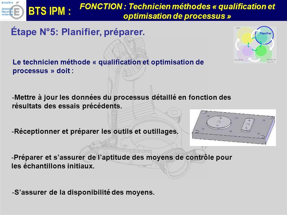 BTS IPM : FONCTION : Technicien méthodes « qualification et optimisation de processus » Étape N°5: Planifier, préparer.
