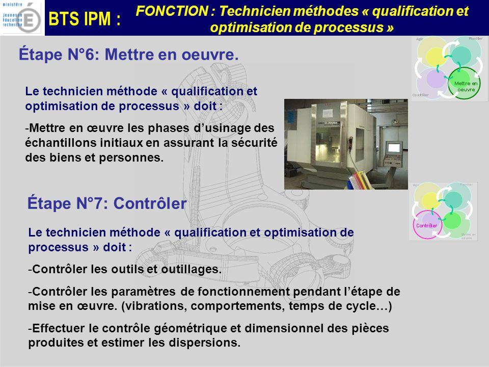 BTS IPM : FONCTION : Technicien méthodes « qualification et optimisation de processus » Étape N°6: Mettre en oeuvre.