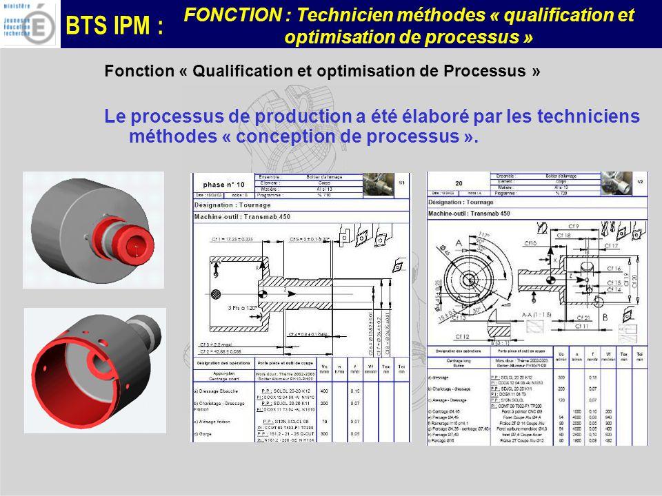 BTS IPM : FONCTION : Technicien méthodes « qualification et optimisation de processus » Fonction « Qualification et optimisation de Processus » Le processus de production a été élaboré par les techniciens méthodes « conception de processus ».