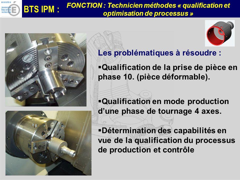 BTS IPM : FONCTION : Technicien méthodes « qualification et optimisation de processus » Les problématiques à résoudre : Qualification de la prise de pièce en phase 10.