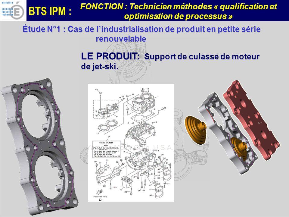 BTS IPM : FONCTION : Technicien méthodes « qualification et optimisation de processus » Problématiques à développer: -Qualification en mode production dune phase de fraisage 5 axes positionnés.
