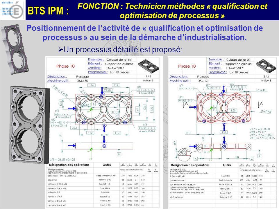 BTS IPM : FONCTION : Technicien méthodes « qualification et optimisation de processus » –Réaliser les essais : Les essais sont effectués ici sur le moyen de production et avec des bruts « capables ».