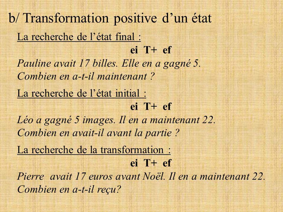 b/ Transformation positive dun état La recherche de létat final : ei T+ ef Pauline avait 17 billes. Elle en a gagné 5. Combien en a-t-il maintenant ?