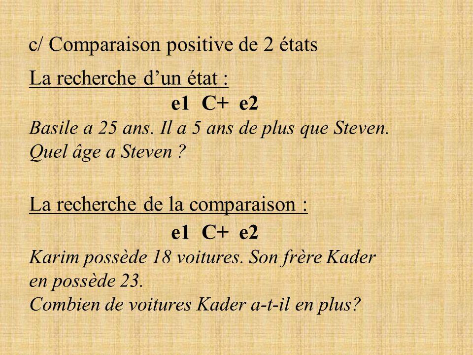 c/ Comparaison positive de 2 états La recherche dun état : e1 C+ e2 Basile a 25 ans. Il a 5 ans de plus que Steven. Quel âge a Steven ? La recherche d