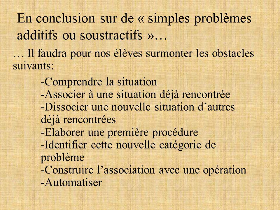 En conclusion sur de « simples problèmes additifs ou soustractifs »… … Il faudra pour nos élèves surmonter les obstacles suivants: -Comprendre la situ