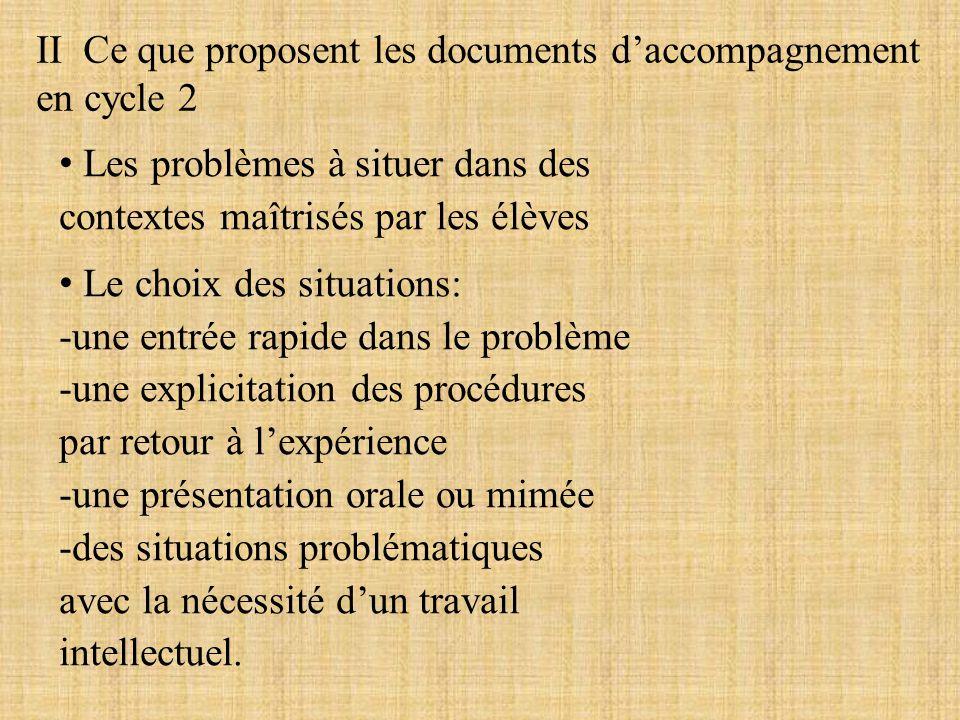 II Ce que proposent les documents daccompagnement en cycle 2 Les problèmes à situer dans des contextes maîtrisés par les élèves Le choix des situation