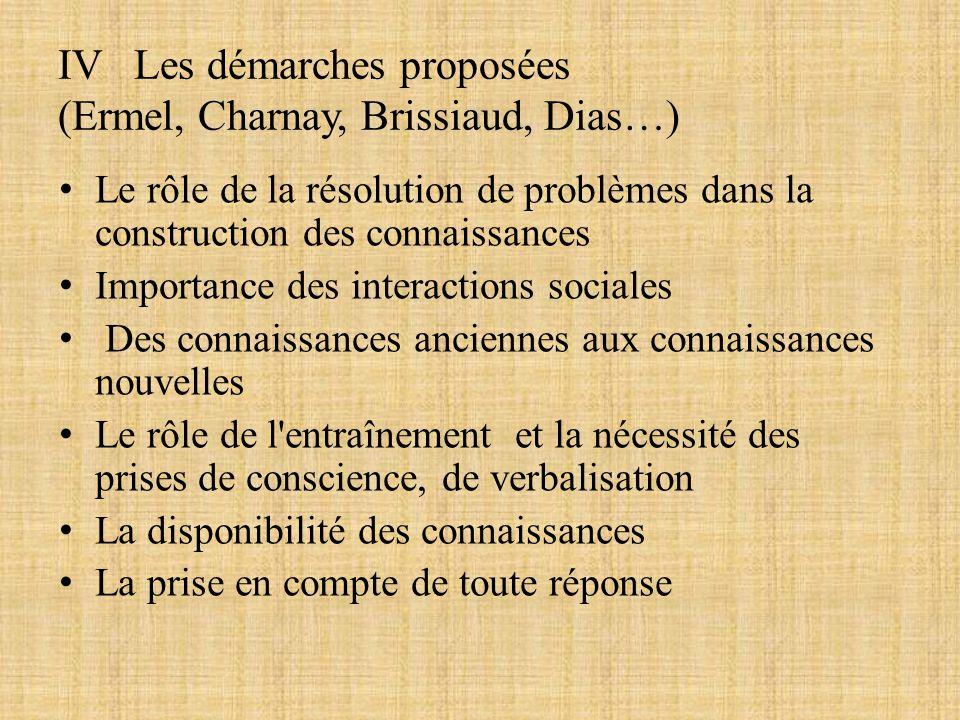 IV Les démarches proposées (Ermel, Charnay, Brissiaud, Dias…) Le rôle de la résolution de problèmes dans la construction des connaissances Importance