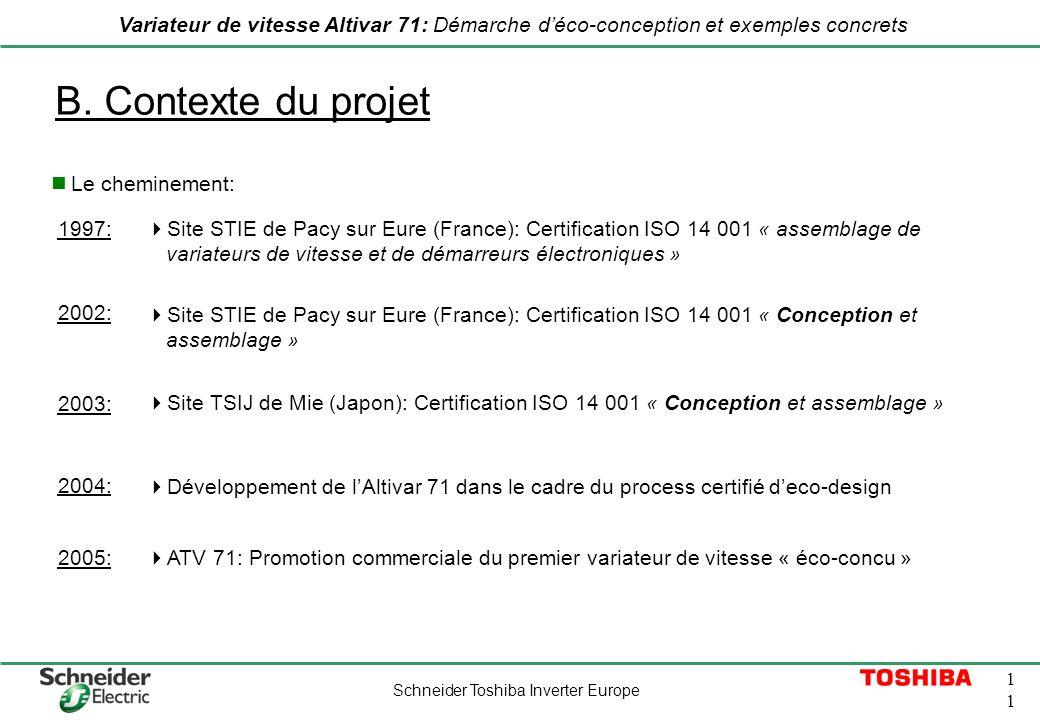 Schneider Toshiba Inverter Europe 1 Variateur de vitesse Altivar 71: Démarche déco-conception et exemples concrets B. Contexte du projet Le cheminemen