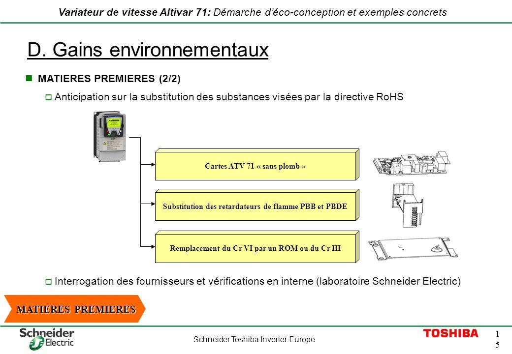 Schneider Toshiba Inverter Europe 1515 Variateur de vitesse Altivar 71: Démarche déco-conception et exemples concrets D. Gains environnementaux Antici