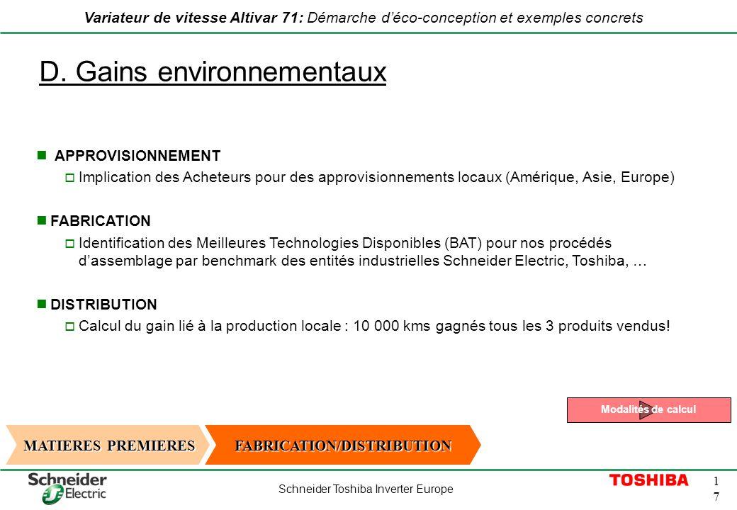 Schneider Toshiba Inverter Europe 1717 Variateur de vitesse Altivar 71: Démarche déco-conception et exemples concrets D. Gains environnementaux MATIER