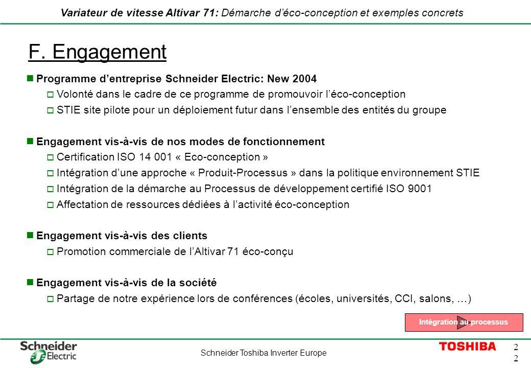 Schneider Toshiba Inverter Europe 2 Variateur de vitesse Altivar 71: Démarche déco-conception et exemples concrets F. Engagement Programme dentreprise