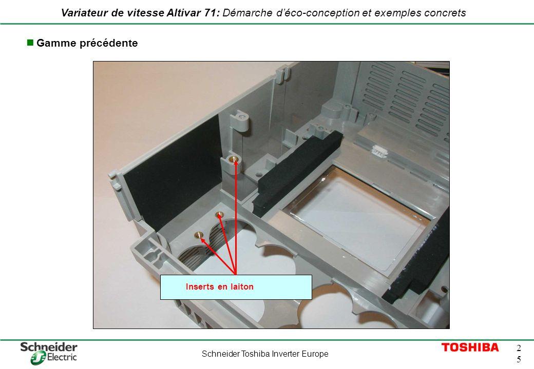 Schneider Toshiba Inverter Europe 2525 Variateur de vitesse Altivar 71: Démarche déco-conception et exemples concrets Inserts en laiton Gamme précéden