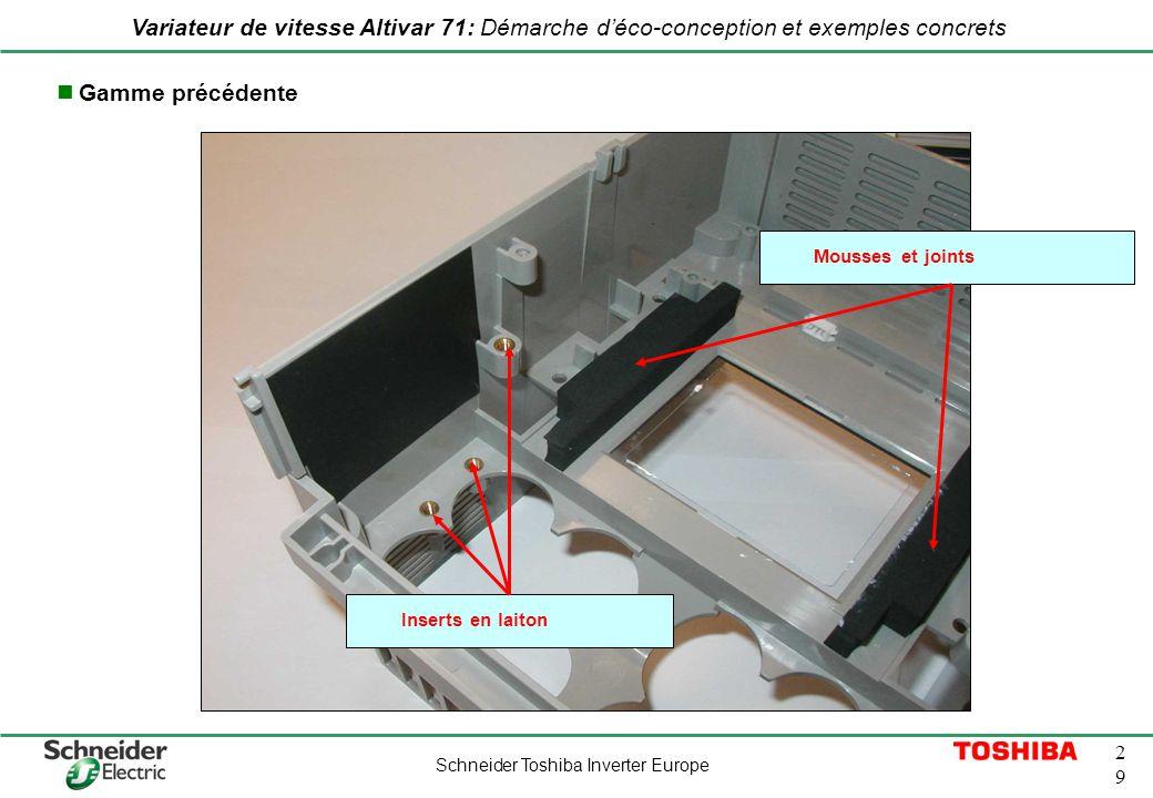 Schneider Toshiba Inverter Europe 2929 Variateur de vitesse Altivar 71: Démarche déco-conception et exemples concrets Inserts en laiton Mousses et joi