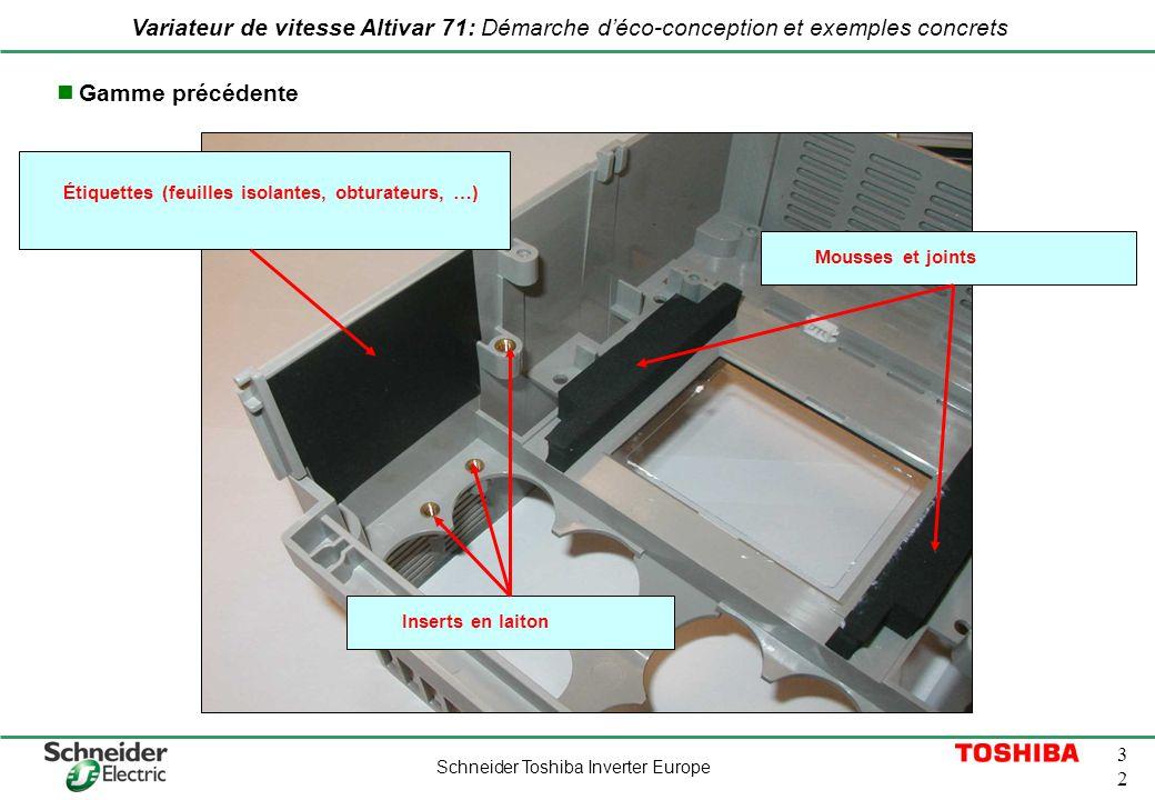 Schneider Toshiba Inverter Europe 3232 Variateur de vitesse Altivar 71: Démarche déco-conception et exemples concrets Inserts en laiton Mousses et joi