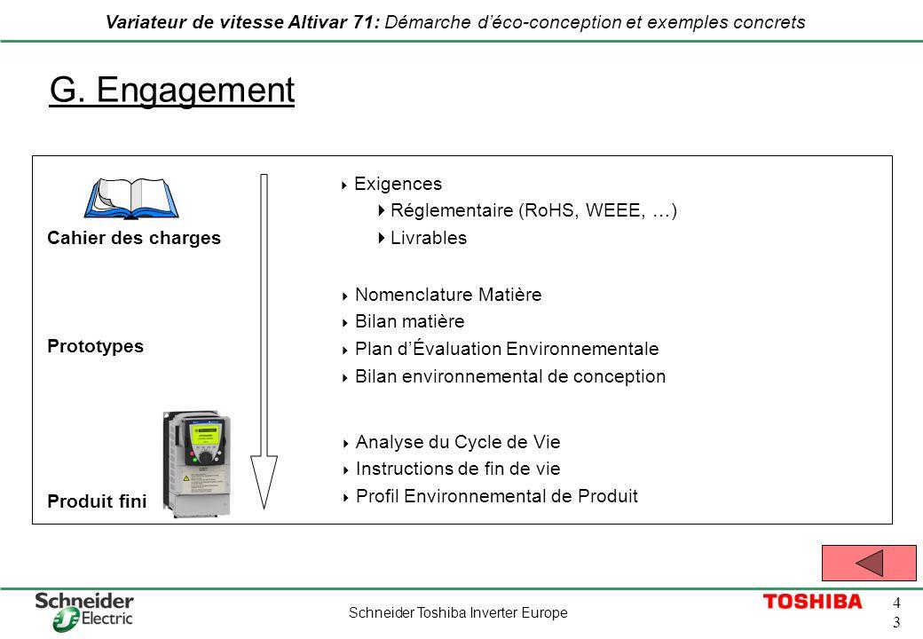 Schneider Toshiba Inverter Europe 4343 Variateur de vitesse Altivar 71: Démarche déco-conception et exemples concrets G. Engagement Cahier des charges