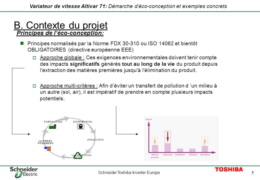 Schneider Toshiba Inverter Europe 5 Variateur de vitesse Altivar 71: Démarche déco-conception et exemples concrets B. Contexte du projet Principes nor
