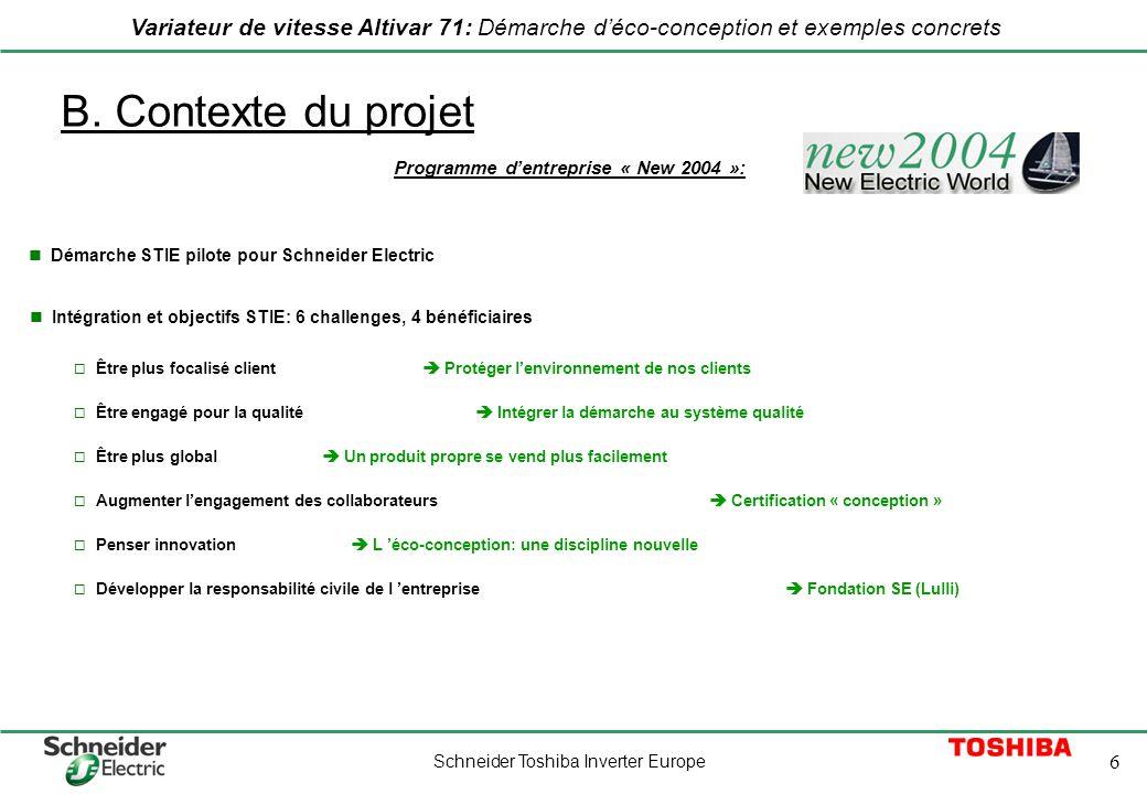 Schneider Toshiba Inverter Europe 6 Variateur de vitesse Altivar 71: Démarche déco-conception et exemples concrets B. Contexte du projet L éco-concept