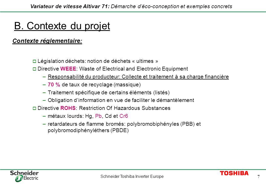 Schneider Toshiba Inverter Europe 7 Variateur de vitesse Altivar 71: Démarche déco-conception et exemples concrets B. Contexte du projet Contexte régl