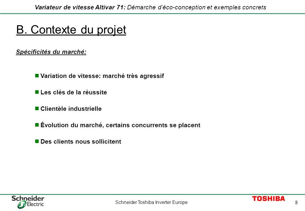 Schneider Toshiba Inverter Europe 8 Variateur de vitesse Altivar 71: Démarche déco-conception et exemples concrets B. Contexte du projet Spécificités