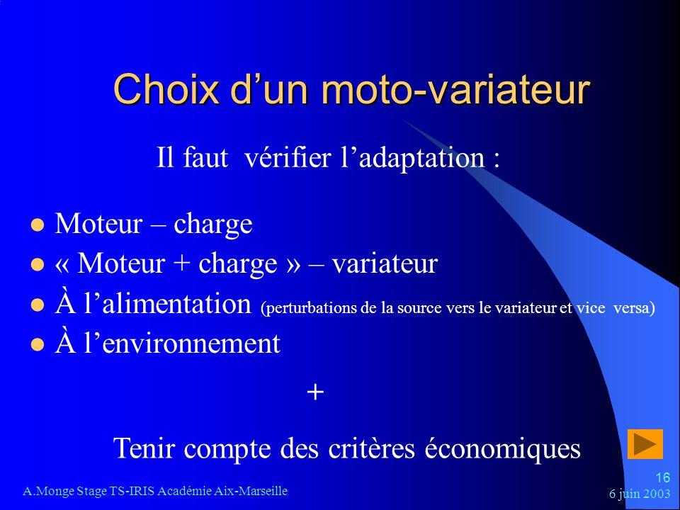 6 juin 2003 A.Monge Stage TS-IRIS Académie Aix-Marseille 16 Choix dun moto-variateur Moteur – charge « Moteur + charge » – variateur À lalimentation (