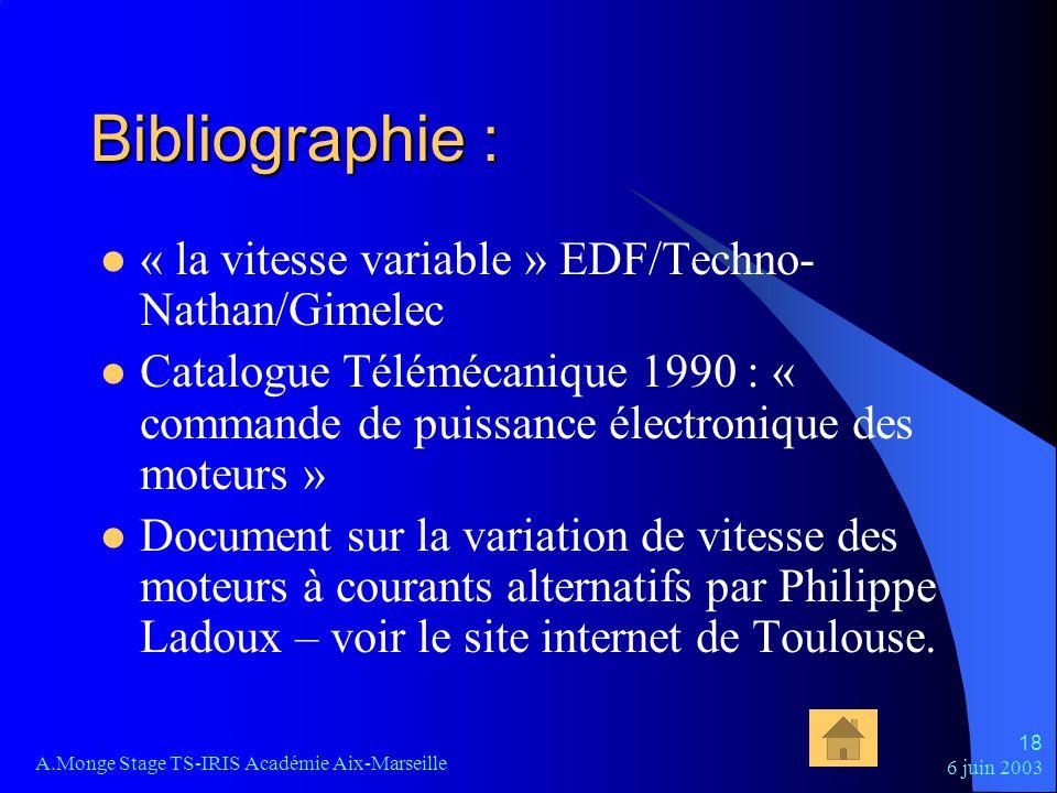 6 juin 2003 A.Monge Stage TS-IRIS Académie Aix-Marseille 18 Bibliographie : « la vitesse variable » EDF/Techno- Nathan/Gimelec Catalogue Télémécanique