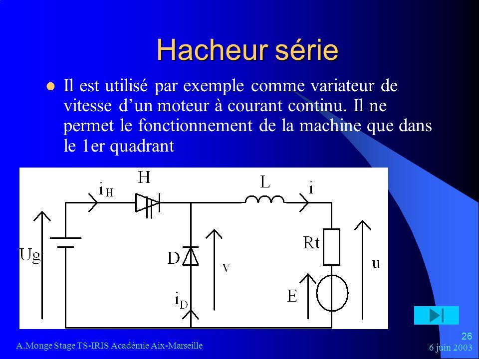 6 juin 2003 A.Monge Stage TS-IRIS Académie Aix-Marseille 26 Hacheur série Il est utilisé par exemple comme variateur de vitesse dun moteur à courant c