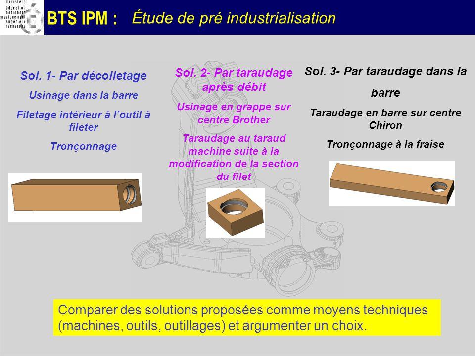 BTS IPM : Étude de pré industrialisation Sol. 1- Par décolletage Usinage dans la barre Filetage intérieur à loutil à fileter Tronçonnage Sol. 2- Par t