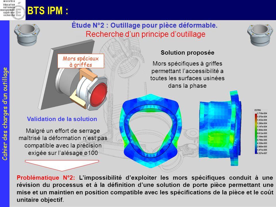 BTS IPM : Mors spéciaux à griffes Solution proposée Mors spécifiques à griffes permettant laccessibilité a toutes les surfaces usinées dans la phase M