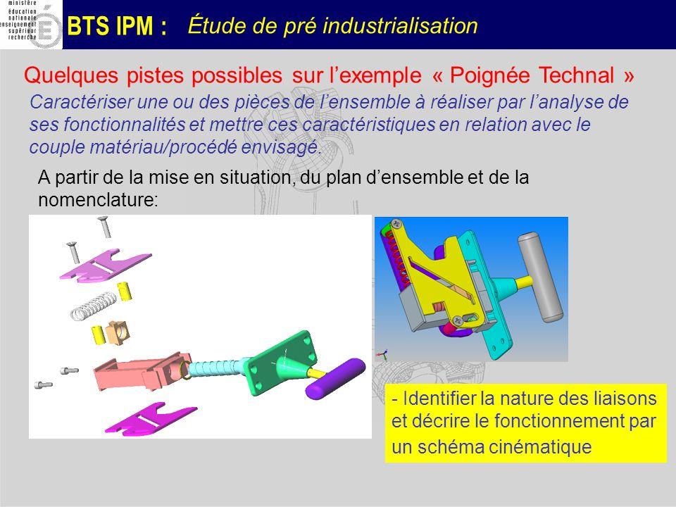 BTS IPM : Étude de pré industrialisation Caractériser une ou des pièces de lensemble à réaliser par lanalyse de ses fonctionnalités et mettre ces cara