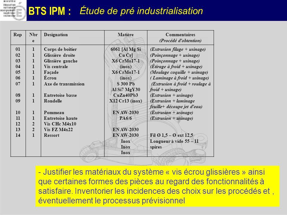 BTS IPM : Étude de pré industrialisation RepNbr e DesignationMatièreCommentaires (Procédé d'obtention) 01 02 03 04 05 06 07 08 09 10 11 12 13 14 11111