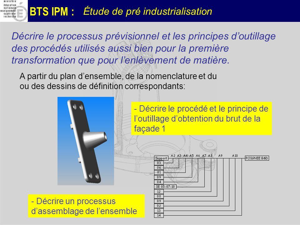 BTS IPM : Étude de pré industrialisation Décrire le processus prévisionnel et les principes doutillage des procédés utilisés aussi bien pour la premiè